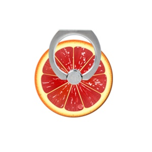 Fresh Fruit Pattern Finger Ring Kickstand Cable Winder for iPhone iPad etc - Grapefruit
