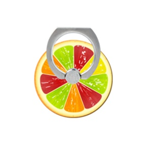 Patterned Finger Ring Kickstand Cable Winder for iPhone iPad etc - Colorful Fruit