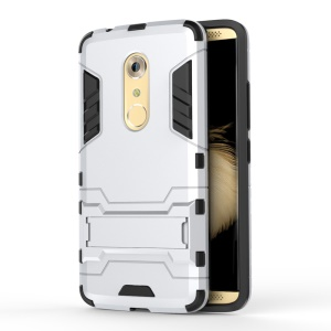 PC and TPU Hybrid Case with Kickstand for ZTE Axon 7 - Silver