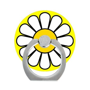 Desktop Stand Metal Finger Ring Holder for iPhone iPad Samsung - White Petal with Yellow Heart