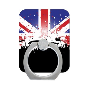 Finger Grip Metal Ring Holder for Smartphone Tablets - UK Flag and Cheering people