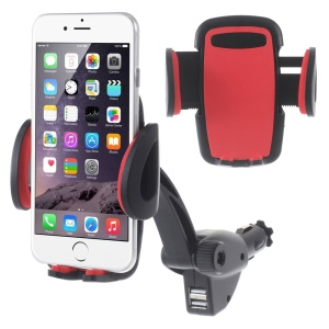 Universal Dual USB Car Charger Mount Holder for iPhone Samsung LG Sony Smartphones, Width: 5 - 9.5cm - Red