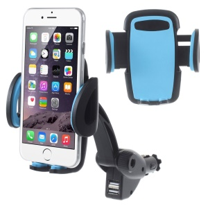 Dual USB Universal Car Charger Mount Holder for iPhone Samsung LG Sony Smartphones, Width: 5 - 9.5cm - Blue