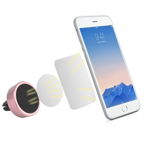 Car Air Vent Magnetic Mount Stand for iPhone Samsung Cellphone GPS - Rose Gold