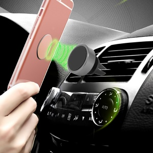 Car Air Vent Rotary Magnetic Mount Holder for iPhone Samsung GPS - Grey