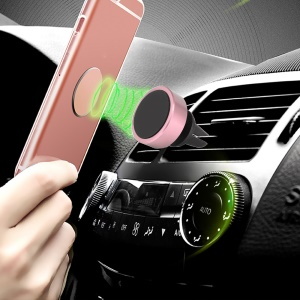 Air Vent Magnetic Car Mount 360-Degree Rotation for iPhone Samsung GPS - Rose Gold