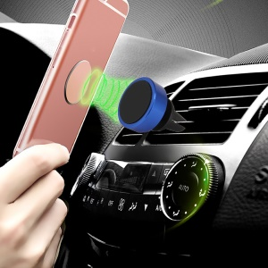 Car Air Vent Rotary Magnetic Mount Holder Stand for iPhone Samsung GPS - Blue