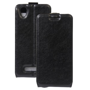 Crazy Horse Vertical Flip Leather Card Holder Case for ZTE Blade A452 - Black