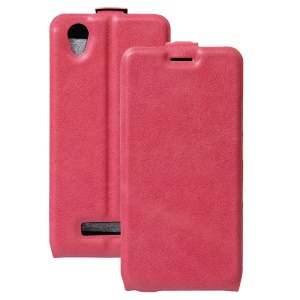 Crazy Horse Up-down Open Leather Card Holder Case for ZTE Blade A452 - Rose