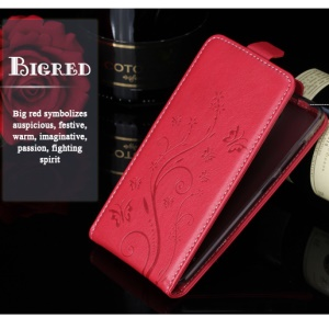 LAMOCASE Imprint Butterfly Flowers Vertical Leather Case with Card Slot for ZTE Blade V7 Lite - Red