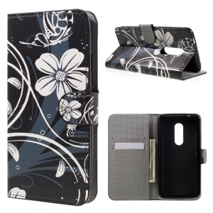Wallet Leather Stand Case for ZTE Axon 7 - Elegant Flowers