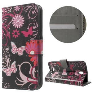 Stand Leather Phone Case with Card Holder for ZTE Blade L5 Plus - Butterfly and Flower