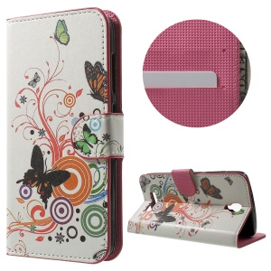 PU Leather Card Holder Stand Case for ZTE Blade L5 Plus - Butterfly and Circle
