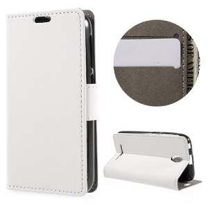 Flip Leather Wallet Stand Case for ZTE A110 - White