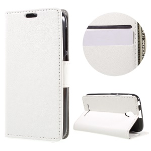 Faux Leather Wallet Stand Cover for ZTE A110 - White