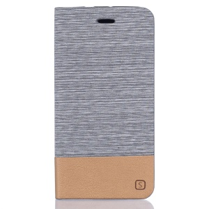 Two-color Linen Texture Leather Stand Cover for ZTE Blade V7 - Light Grey