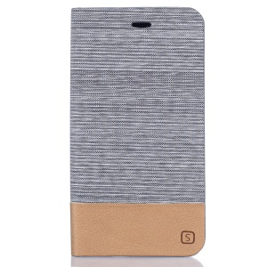 Two-color Linen Texture Leather Stand Cover for ZTE Blade V7 Lite - Light Grey