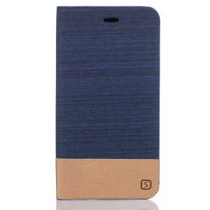 Two-color Linen Texture Leather Card Holder Cover for ZTE Blade V7 Lite - Dark Blue