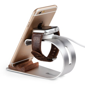OATSBASF Wood Aluminum Dock Stand for Apple Watch and Smartphones - Silver