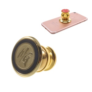 360 Degree Rotary Metal Magnetic Holder for iPhone 7 or Other Smartphones - Gold
