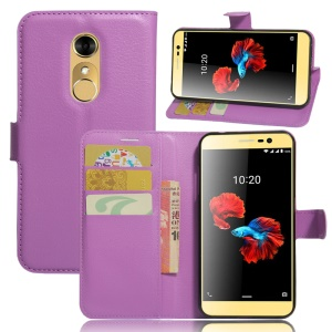 Litchi Skin Wallet Leather Stand Case for ZTE Blade A910 - Purple