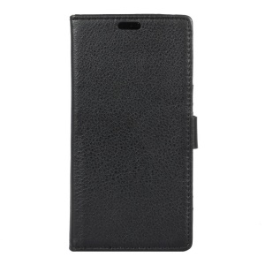 Litchi Skin Wallet Leather Stand Case for ZTE Blade A910 - Black