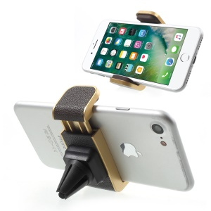 Deluxe PC + PU Leather Car Air Vent Mount Holder for iPhone Huawei LG Smartphone GPS - Gold