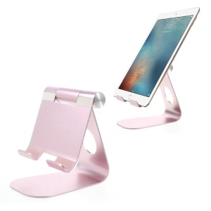 Universal Aluminum Alloy Adjustable Desktop Stand Holder for iPad iPhone Tablet PC - Rose Gold
