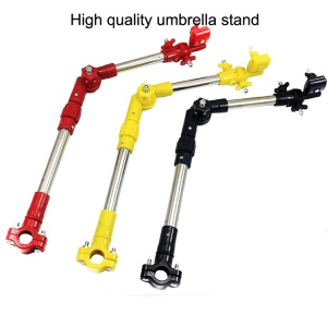 Folding Umbrella Bar Mount Holder for Stroller, Bike, Wheel Chair etc - Red