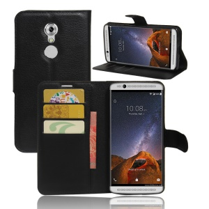 Litchi Skin Leather Wallet Case for ZTE Axon 7 mini - Black