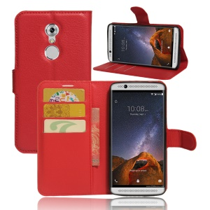 Litchi Skin PU Leather Wallet Case for ZTE Axon 7 mini - Red