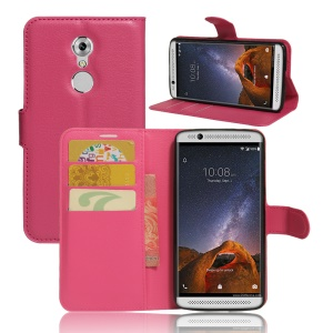 Litchi Skin Magnetic Leather Wallet Case for ZTE Axon 7 mini - Rose