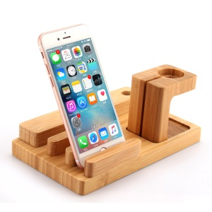 Desktop Bamboo 4 Port USB Charging Station Apple Watch Stand Charger Dock