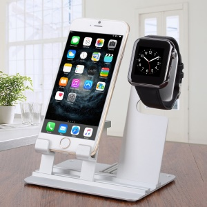 DIY Multifunctional Desktop Charging Cradle Stand Holder para Apple Watch, IPhone iPad Etc. - prata