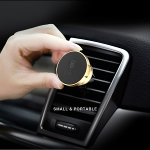 BASEUS Small Ears Series Magnetic 360 Degree Rotation Car Air Vent Mount Phone Holder - Gold Color