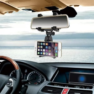 Car Rearview Mirror Mount Cradle Universal Holder for Cell Phone / GPS - Black