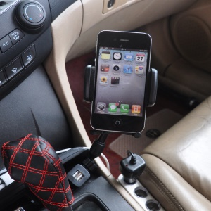 HC-003 Dual USB Car Charger + Car Mount Phone Holder with Clamp Width 3.5-7.5cm - Black