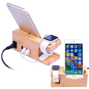 Carbonized Bamboo 3 USB Ports Desktop Charging Station Apple Watch Charger Dock Mount - US Plug