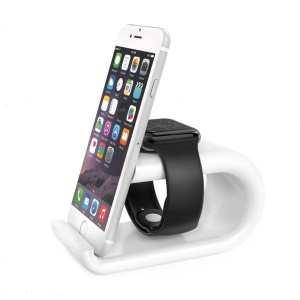 U-shaped Charging Stand Desktop Holder for Apple Watch iPhone iPad Smartphone Tablet - White