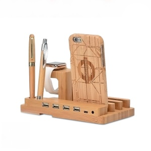 Bamboo Wood 4-Port USB Charging Station for Apple Watch iPhone iPod iPad Android Smartphones - EU Plug