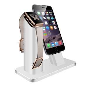ZIKU WJS-45 Aluminum Apple Watch iPhone Charger Cradle Dock Station - Silver