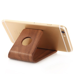 Natural Wood Desktop Stand for iPhone 7/Huawei Mate 9 Etc Smartphone - Walnut