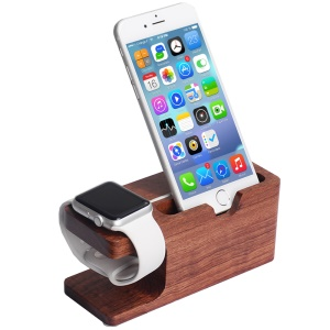 Rosewood Charging Station Desktop Stand Holder for Apple Watch iPhone