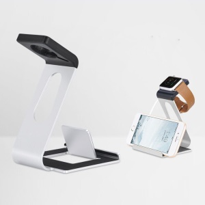 WJS-5 Aluminum Alloy Charging Stand Desktop Holder for Apple Watch iPhone - Silver