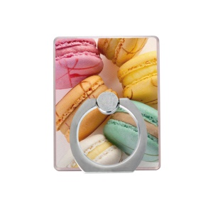 Macaroon Pattern Ring Holder Finger Grip 360 Degree Rotating Stand for Cellphone Tablet - Style A