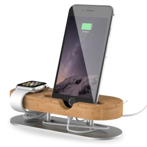 IPS-Z32 Bamboo + Aluminum Alloy Charging Station Desktop Stand Holder for Apple Watch iPhone