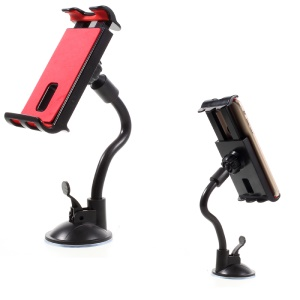 Universal Suction Cup Metal Hose Rotary Car Desktop Mount Holder, Clamp Width: 11.5 - 20cm - Black