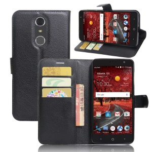 Litchi Texture Wallet Leather Phone Case for ZTE Grand X 4 - Black