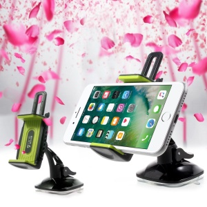 D9ELEMENT ZH125 Universal Suction Cup Rotary Car Mount Holder with Built-in Aroma Stick Hole - Green