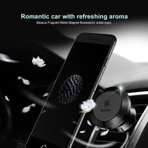 BASEUS Fragrant Metal Magnet Mobile Phone Car Mount Bracket (Air Outlet Type) - Black
